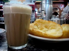 Brazilian buttered bread and Cafe Latte